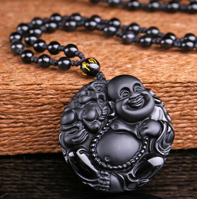 KYSZDL Doğal size Aşk parayı ve güvenlik SERBEST ip getir Laughing Buddha Büyük göbek Maitreya kolye Buda Pixiu'nın Obsidian