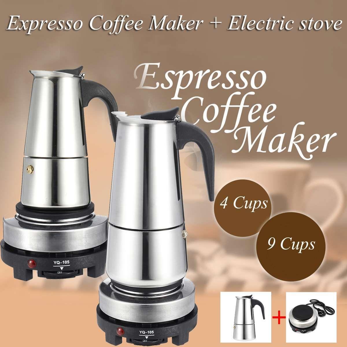 200 / 450ml portátil fabricante de café express de Moka Crisol del acero inoxidable con horno eléctrico filtro percolador de café Brewer Hervidor Pot