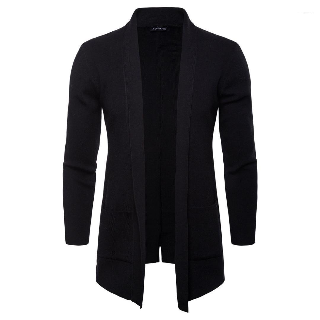 Mens Freistich Fest Stehkragen Langarm-Oberbekleidung beiläufige Mäntel Mode Knit mit Taschen Herren Jacken Frühling und Herbst