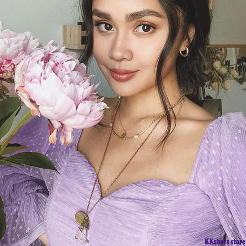 Sweet Pink Блуза женщин Puff рукавом оборками сетки горошек Tops Урожай большой площади воротник сплошной цвет Blusas 2020