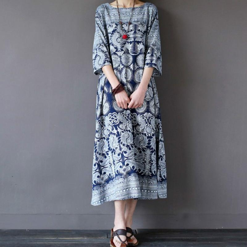 Women's Summer Casual Dress Printed National Flower Large Size Loose Cool Dress Outdoor Vacation Breathable Beach