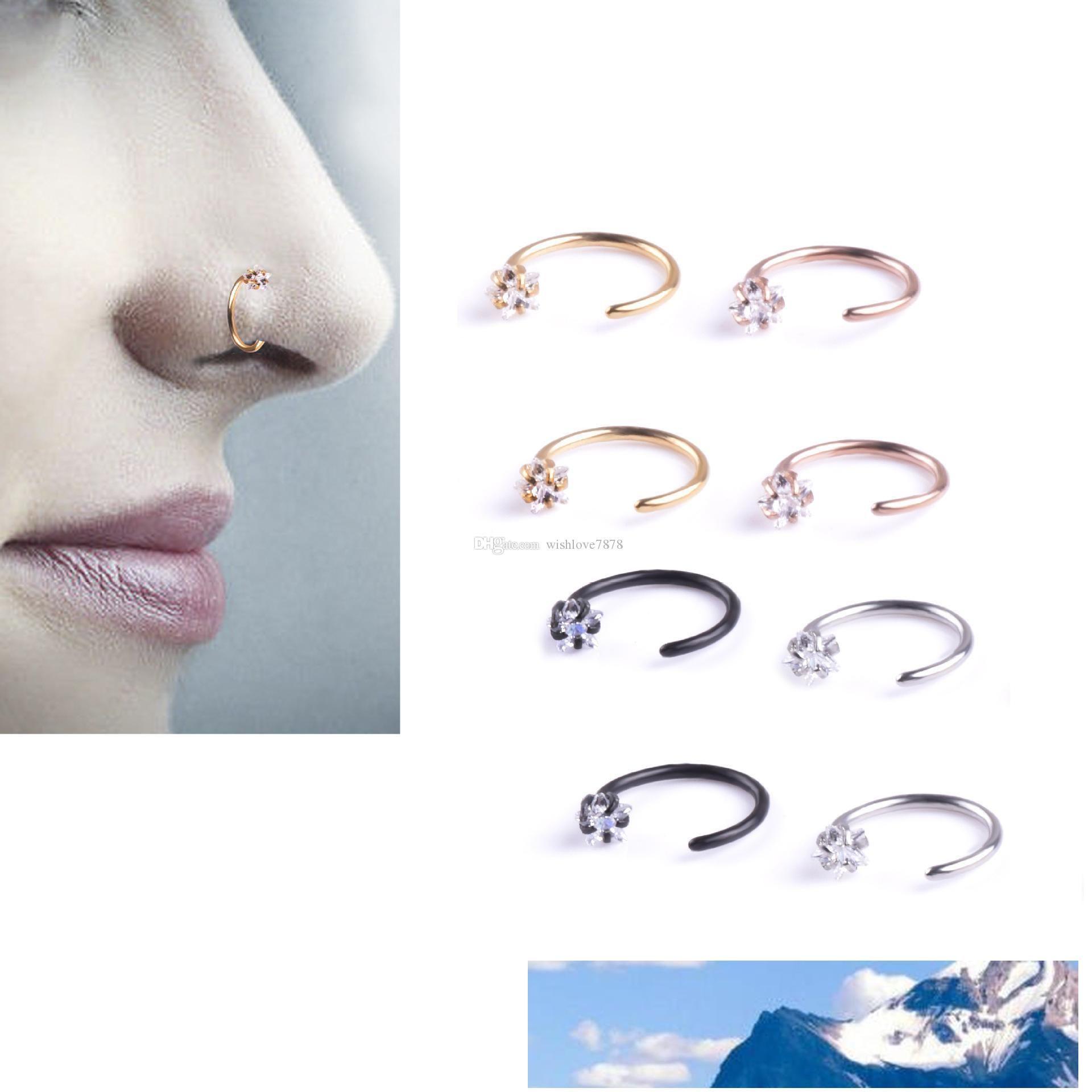 New Star zircone Naso cerchio Anelli dell'orecchio dei monili Cartilagine Tragus corpo per le donne gli uomini anti-allergia C Neck