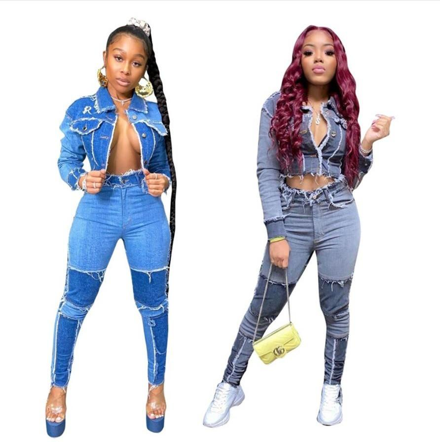Le donne jeans hanno impostato il nuovo rivestimento a maniche lunghe della patchwork della moda più nuovo Giacca corta + Jeans a matita skinny ad alta vita Jeans Cool Girls Sweawear Denim Set