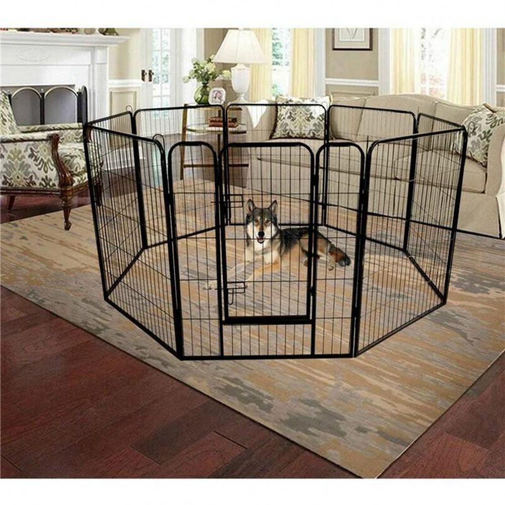 Folding Metal Exercise Pen&Pet Playpen 8-Panel Heavy Duty Large Dog Fence Cat Puppy Pet Exercise Playpen Indoor Outdoor US STOCK W24101525