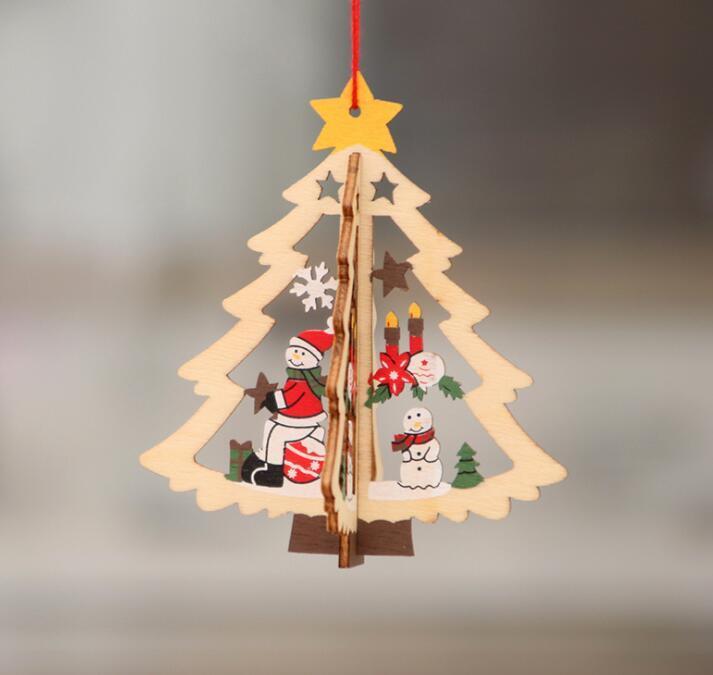 2D 3D рождественские деревянные висячие Подвески выдолбить Star Xmas Tree Белл Рождественский орнамент Главная партия украшения GGA3679-4