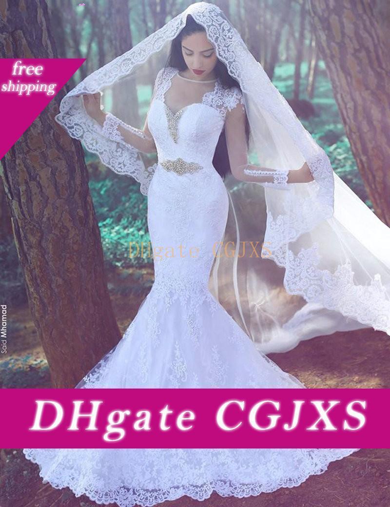 Langarm Sheer Neck Mermaid Brautkleider 2016 Mit-Spitze Vestidos De Novia Mid East Arabisch Dubai Romantische Modest Brautkleider