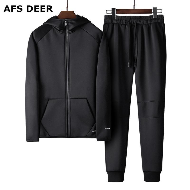 Veste de fermeture à glissière pour hommes + Pantalon Set 2021 Hommes Casual Hommes Suit Sweat Sweat à capuche Sweat-shirt et Sweats à capuche mâle deux pièces