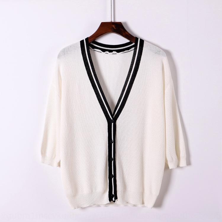iuYYT 2020 Летний новый свитер с кондиционером пальто женщин свободный контраст пальто рубашки кондиционер цвет рубашки V-образным вырезом с коротким кардиган wome