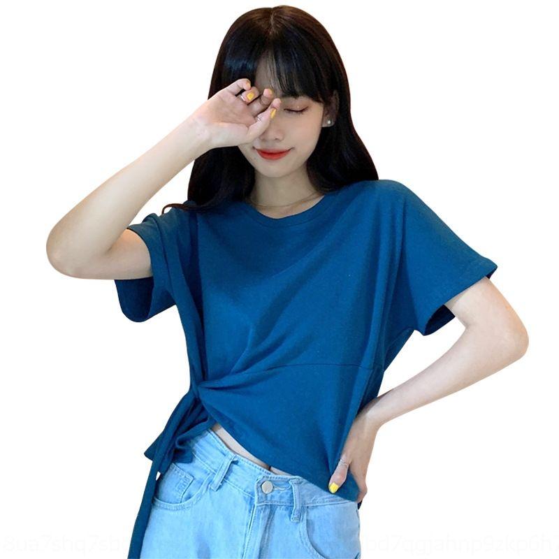hIWx3 verão 2020 irregular para as mulheres de Hong Kong T-shirt do estilo T-shirt V38WE curta Internet manga celebridade solta novo design superior ins moda