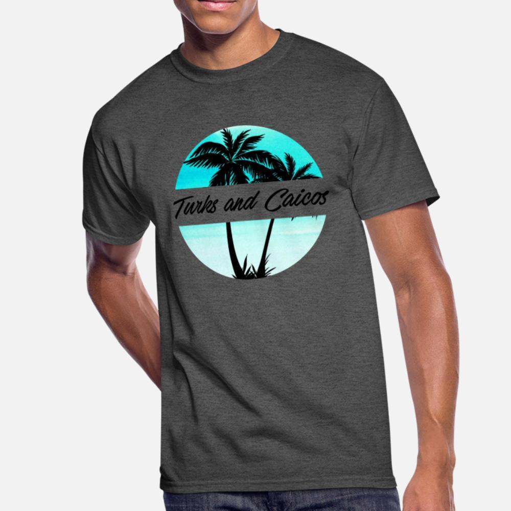 Türk ve Caicos Karayip Palmiye Ağaçları Souvenir Tatil Seyahat Tasarım t shirt erkek Tasarım Ç Boyun Kostüm Grafik Mizah Yaz Stili