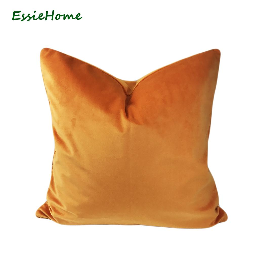 ESSIE casa di lusso opaca del velluto di cotone arancione luminoso mandarino Cuscino Federa Cuscino lombare Caso Y200104
