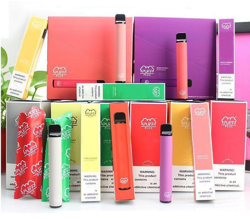 최신 35 개 색상 PUFF BAR PLUS 800 + 퍼프 일회용 Vape 펜 550mAh 배터리 3.2ml 포드 카트리지 사전 채워진 전자 CIGS