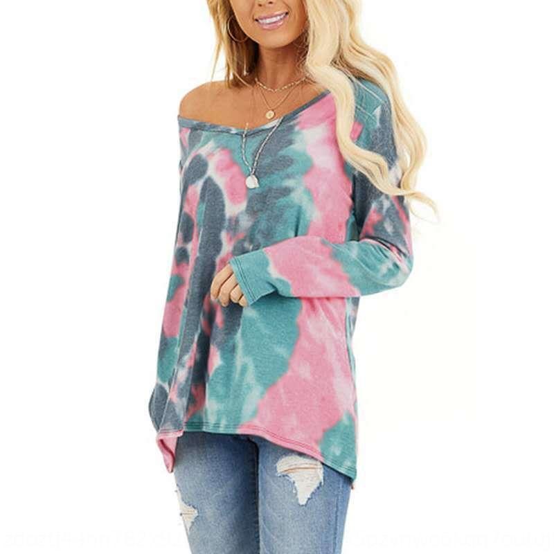 QyACg 2020 случайно шею весной женщин печататься с длинным рукавом для женщин футболки случайные вокруг шеи 2020 весной женщин печататься с длинным рукавом