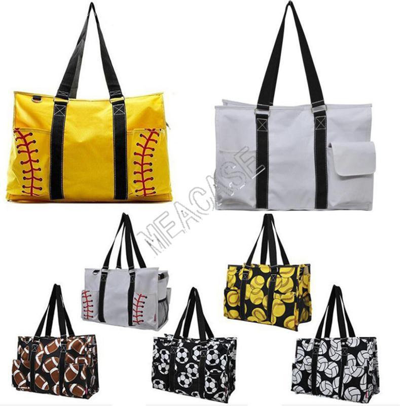 Softball Baseball borsa grande progettista del sacchetto di corsa della tela di canapa di calcio delle donne del modello commerciale Totes Sport Yoga Fittness borse a spalla D81311
