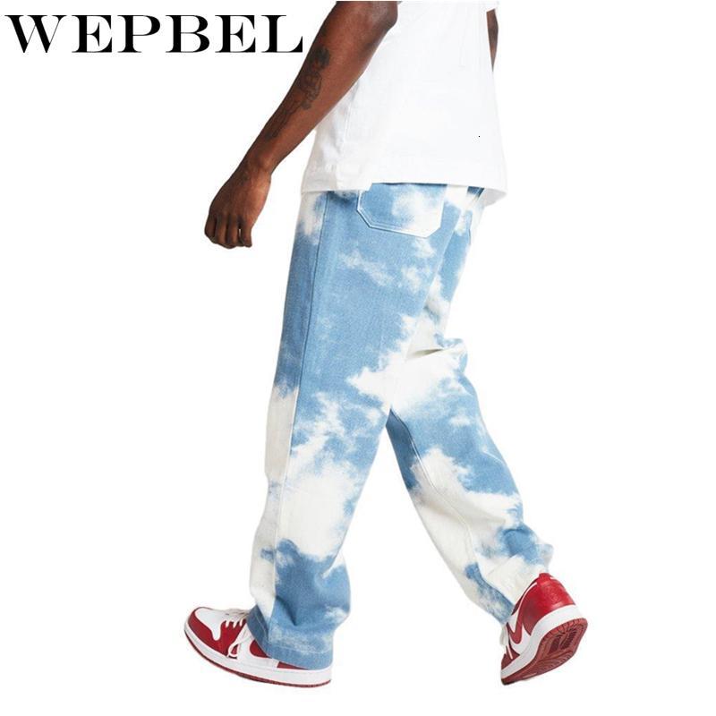 Wepbel hombres ocasional flojo Pantalones vaqueros del tinte del lazo Imprimir Blue Sky largo pantalones vaqueros rectos