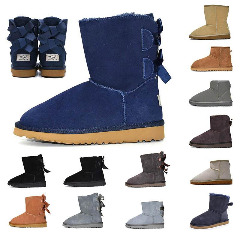 mujeres al por mayor clásico botas de tobillo de la nieve arco corto de arranque de piel para el invierno, azul, rojo castaño de negro Mini aire libre del tobillo de los zapatos EUR 36-41