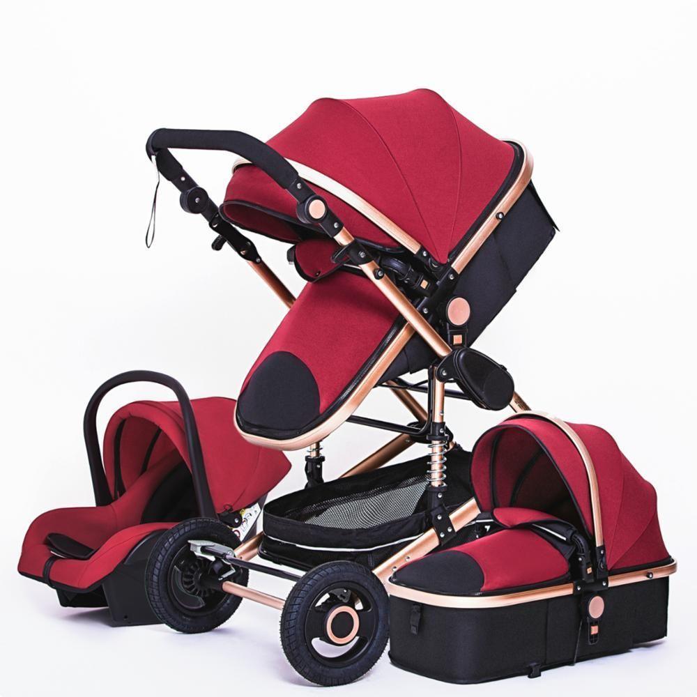 Multifuncional 3 en 1 cochecito de bebé de lujo portátil de alta paisaje 4 ruedas del cochecito plegado del cochecito de bebé recién nacido Oro cochecito LJ200901