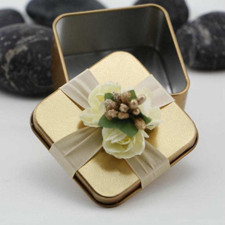 Con nuevo metal cajas del caramelo de la plaza flores púrpuras del oro rojo Tiffane azul de la boda del color del favor Hermosa caja de regalo Suministros favores de la boda