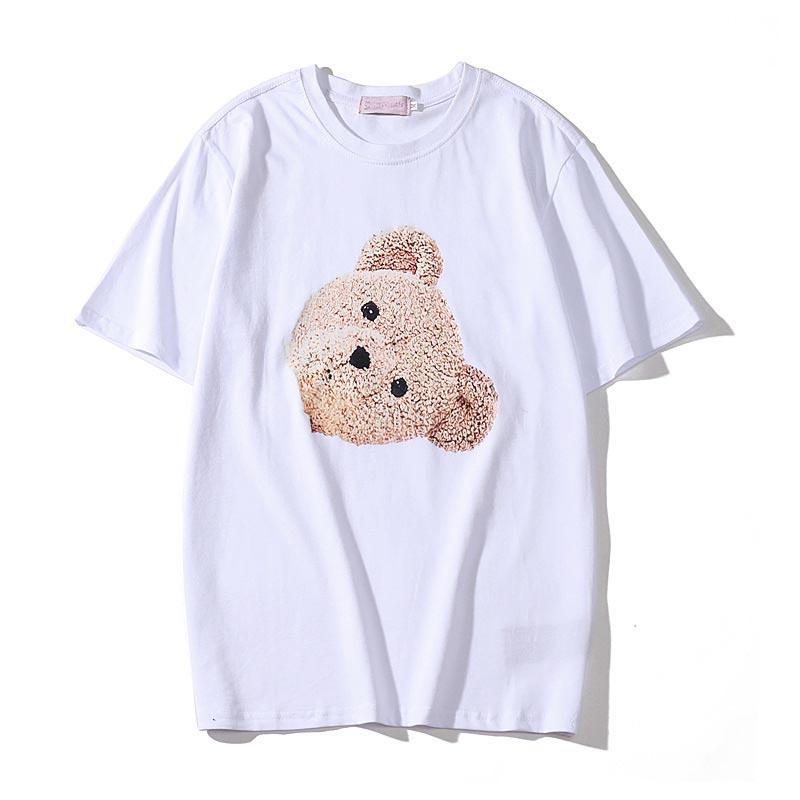 2020 Hombres camiseta estilista de moda para hombre de la impresión del oso del estilista de manga corta Negro alta calidad blanca mujeres de los hombres de Hip Hop Tees