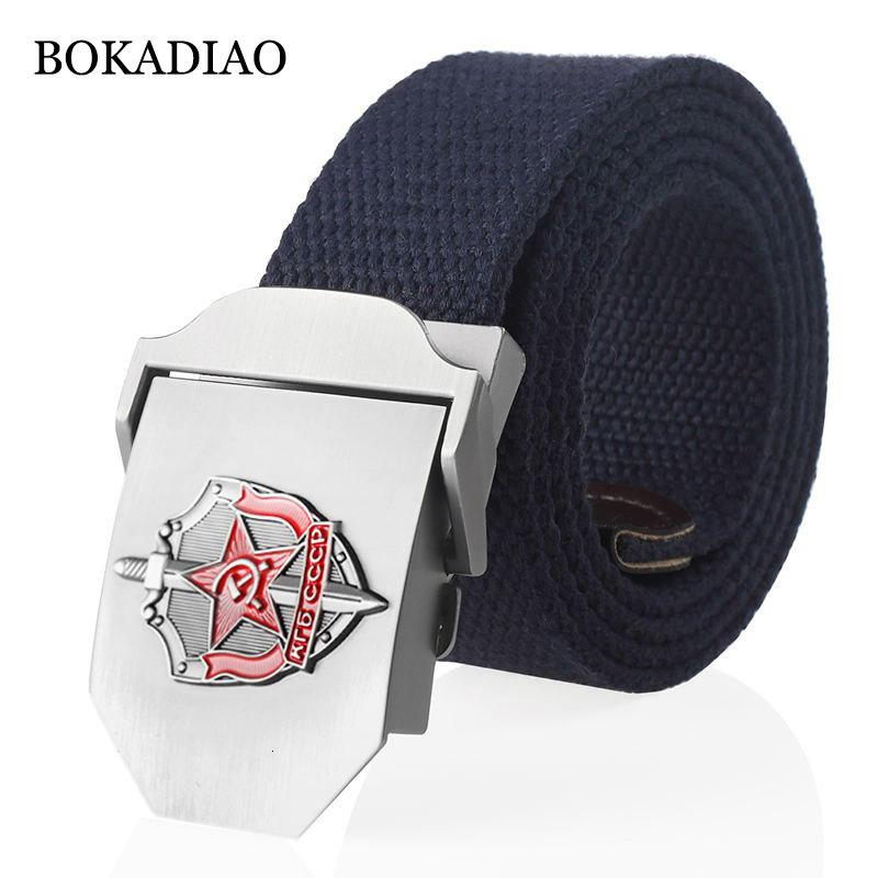 Bokadiao MenWomen Cintura 3D Canvas Cinture sovietico segreto agente del Kgb Fibbia in metallo Cccp esercito tattica militare per gli uomini Jeans cintura