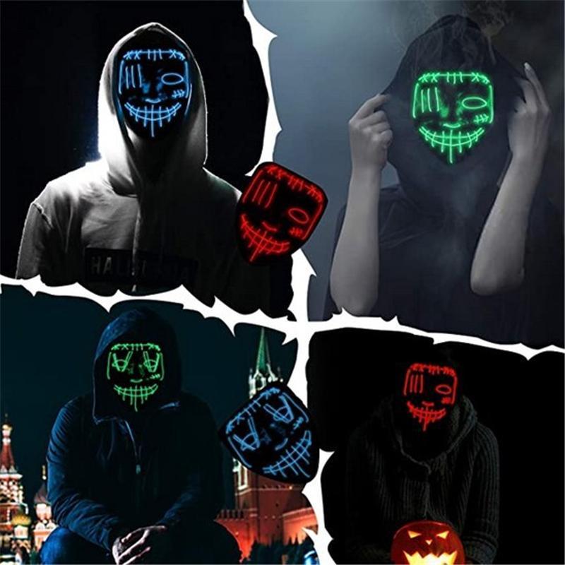 할로윈 LED 마스크 EL 와이어 DJ 파티 빛까지 빛에서 어둠의 영화 축제 파티 코스프레 월급 날 마스크 JK2009XB
