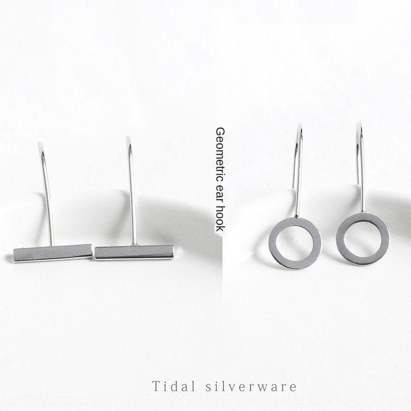 s925 sterling silver geometric circle horizontal bar ear hook Korean style CHIC personalized women's ear studs earring earrings and earrings
