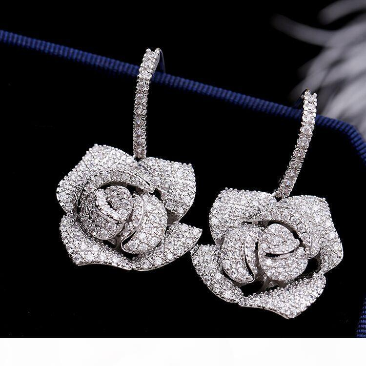 brillantes de las mujeres al por mayor de la joyería de las mujeres del diseñador de lujo pendientes de diamantes artificiales de diseño aretes par pendientes de diseño de la nave libre