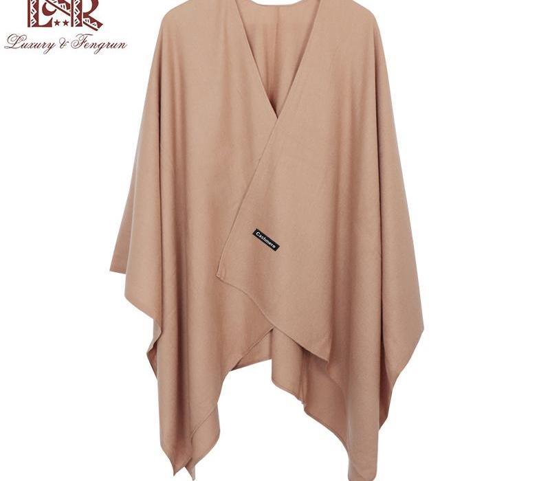2019 nuevo de la manera invierno de la cachemira de las mujeres del poncho bufandas Mujeres sólido cabo del mantón del fular de Femme Pashmina Bufanda Mujer Hombre sjaal CX200728
