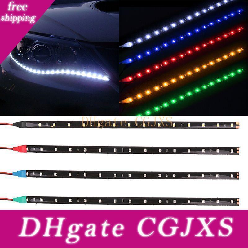 Étanche voiture automatique décoratif flexible Led Strip Highpower 12v 30cm 15smd voiture Led éclairage diurne voiture LED Light Strip Drl