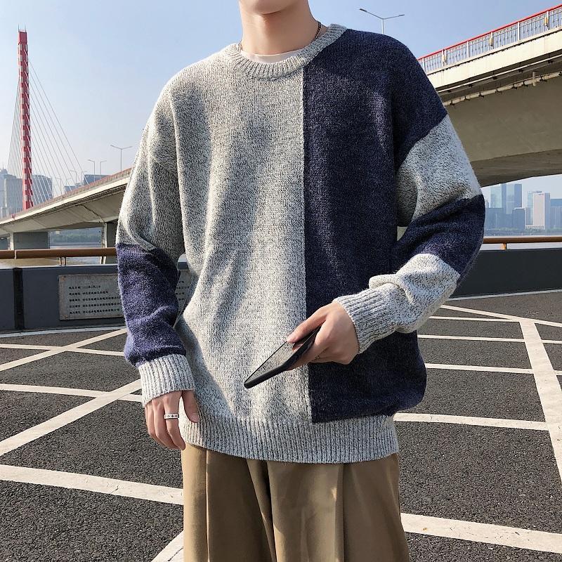 Outono masculino Camisolas coreano Harajuku estilo solto camisola do revestimento Student Tendência Harajuku Estilo Tops Bf Selvagem Homens Camisolas O pescoço