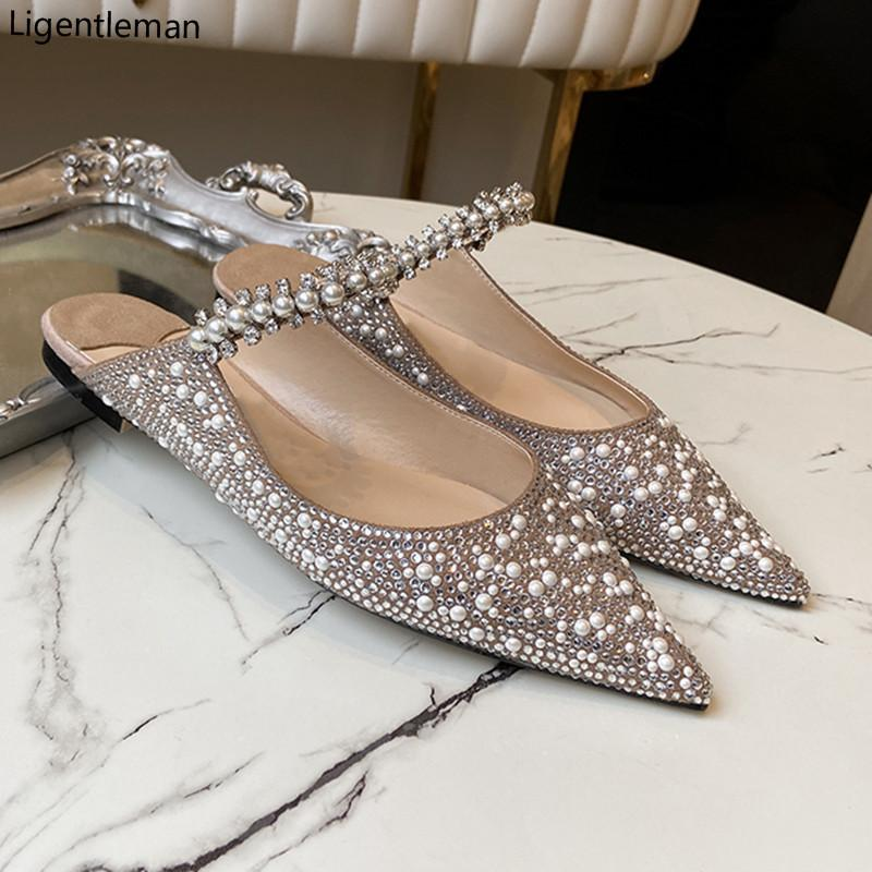 Básicos 2.021 Verão Flock brilhante Rhinestones Pointed Toe Flats Pérola Chinelos Fashion Party Calçados Femininos