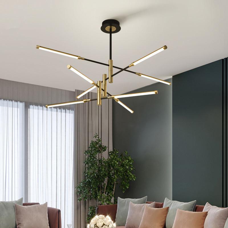 블랙 현대 LED 샹들리에 거실 침실 샹들리에 아크릴 그늘 로프트 레스토랑 조명기구에 매달려 램프