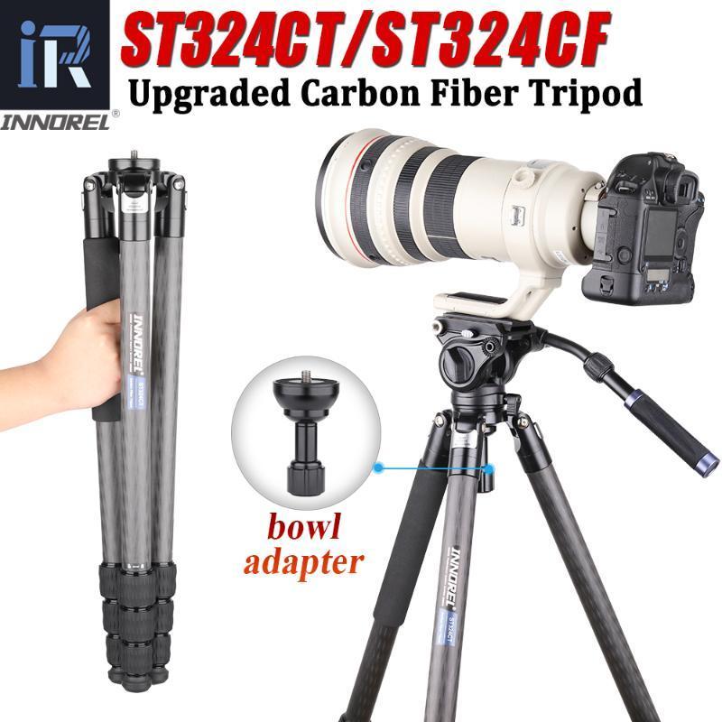 Fibra di carbonio ST324CT / ST324CF Camera Tripod professionale birdwatching Heavy Duty treppiede con la ciotola e l'adattatore per DSLR Videocamera
