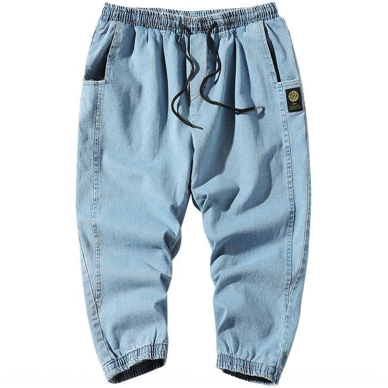 Jeans Herren-Sommer neue dünne modische Casual lässig und Hosen Jeans und Hosen Hosen losen gerade trendy Füße 9 knöchellangen Hosen für m