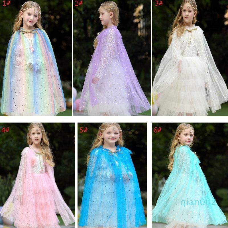 Costume delle ragazze dei capretti di Cosplay Lace capo del mantello del fumetto dei bambini di età principessa Scialle Halloween Party di Natale Abbigliamento XD20258