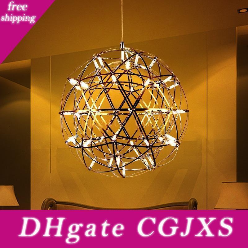 Colgante de acero inoxidable de la lámpara llevada moderna bola de fuegos artificiales de la bola de la lámpara de iluminación Lámparas Home Hotel Deco Iluminación