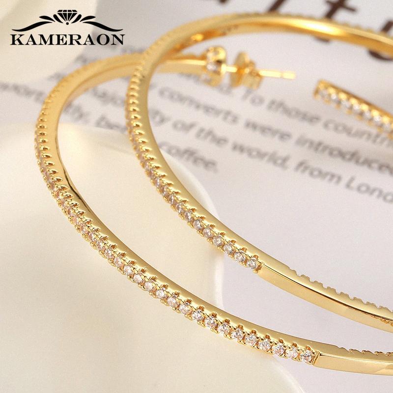 Блестящая тайский серебряный цвет огромный обруч серьги Цирконий Модельер Тонкие кольца серьги женщин Большой круглый Гипоаллергенный jTVZ #
