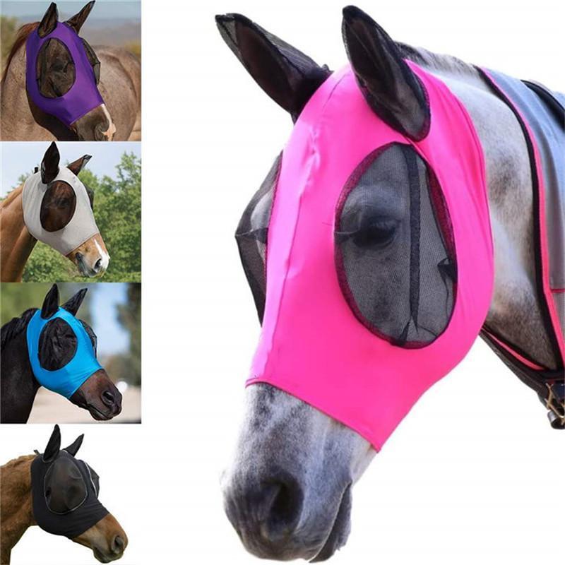 Anti-Fliegen-Mesh-Equine Maske Pferd Maske Stretch Bug-Augen-Pferdefliege Masken mit Covered Ohren Pferdefliege Maske lange Nase mit den Ohren DHA1208