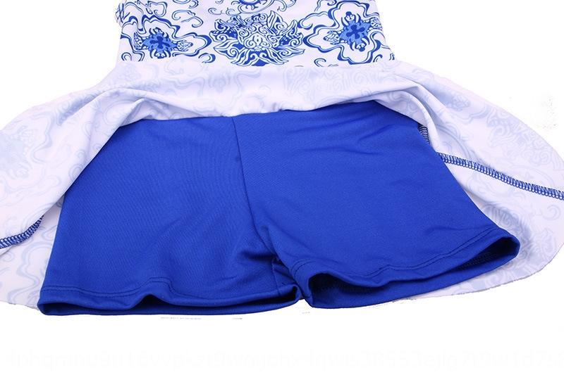 girlsone pieza de estilo chino SwimsuitSwimsuit azul y blanco de la porcelana del patrón del bebé del traje de baño de los nuevos niños tGrYC