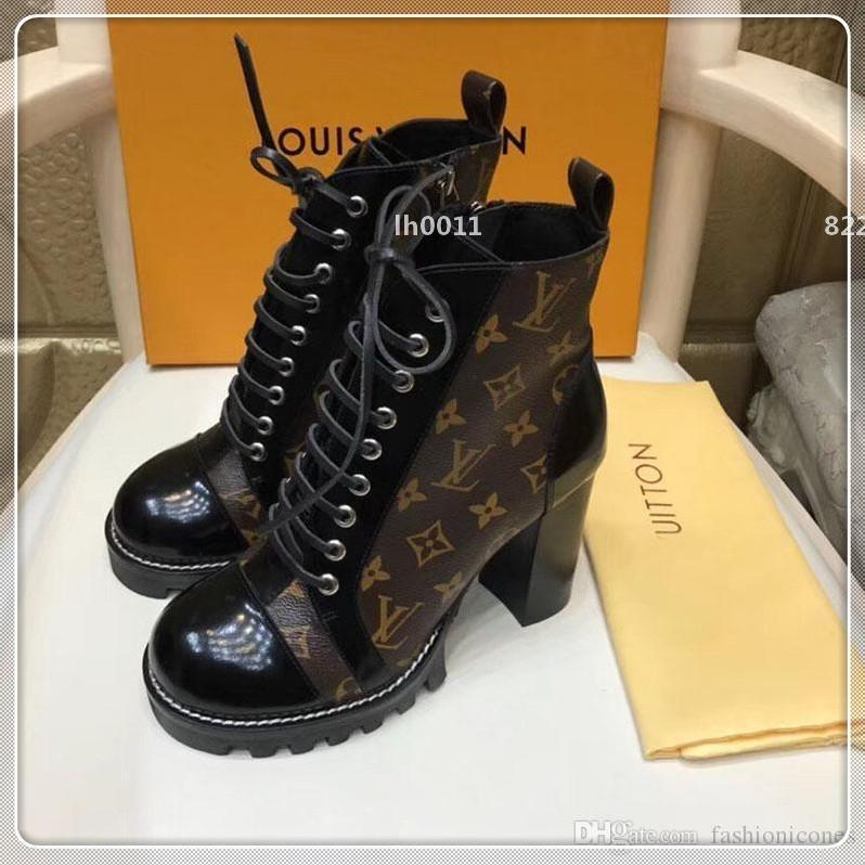 Moda Casual Botas Descoberta Ankle Martin Bota com Original Box Bottes Femmes de couro de luxo Calçados Femininos