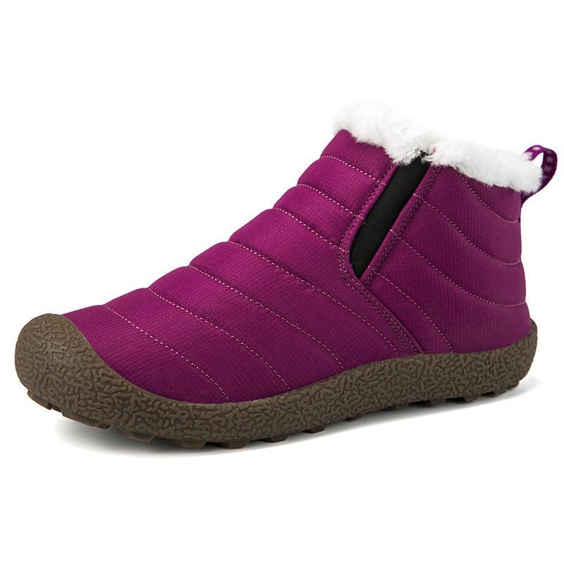 Новый мужской Зимняя пара обуви Сплошной цвет снега Botas Плюшевые Внутри противоскользящие Bottom Keep Warm Ski Boots Размер 35-46