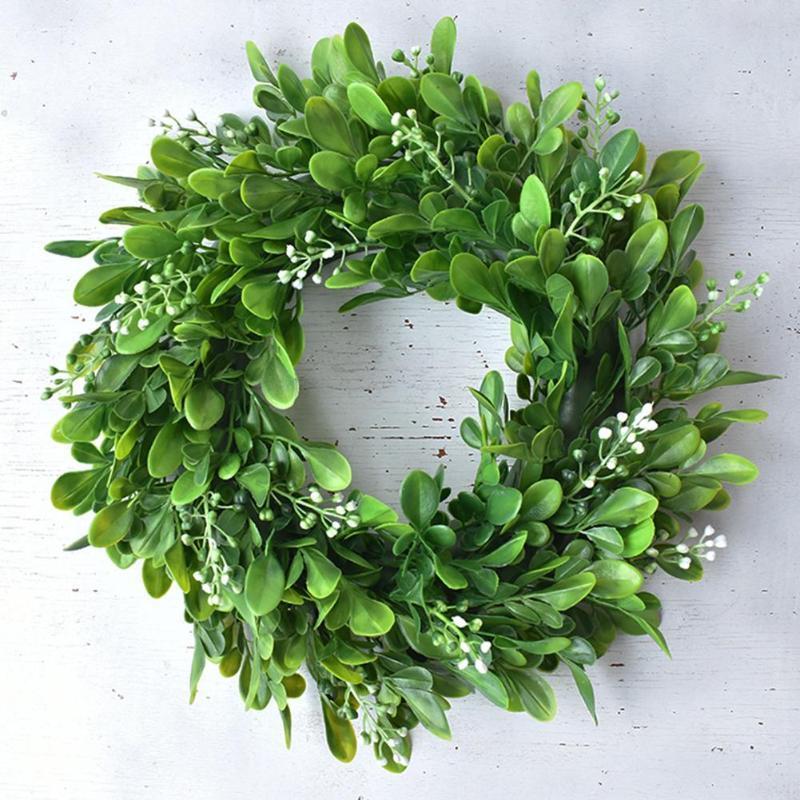 Дв Венок Искусственные зеленые листья Венок 30см Декор передней двери Shell Трава Самшит для Wall Window Party