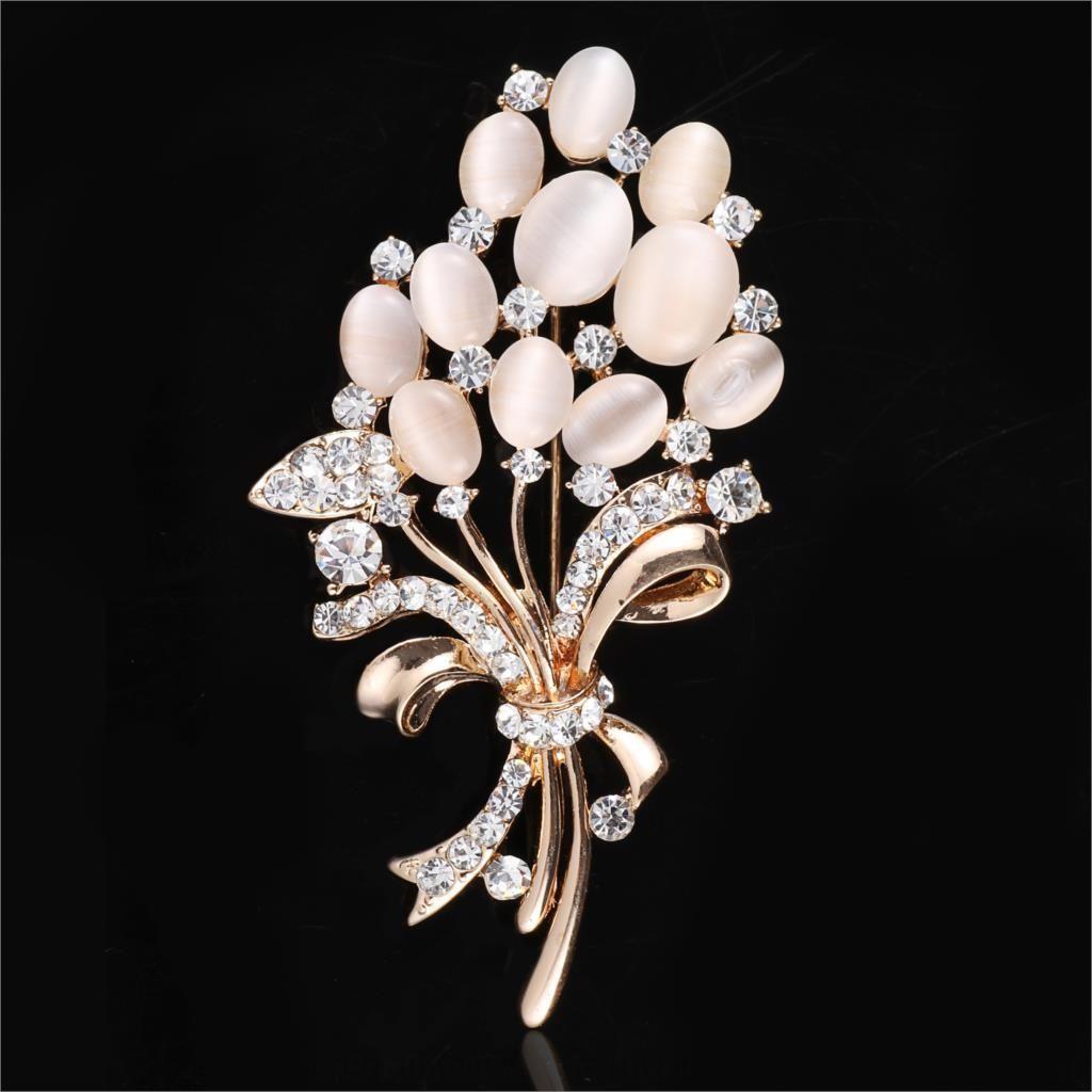 23spX Nueva moda de alta gama de trigo Opal regalo bufanda de regalo ramillete ramo color de rosa de oro de las mujeres broche de la oreja