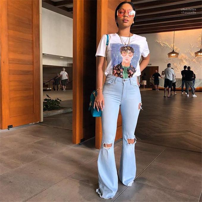 Jean Uzun Pantolon Kız Yüksek Bel Moda Pantolon Flare Delik Kadın Jeans İlkbahar Skinny Çizgili Yıkanmış
