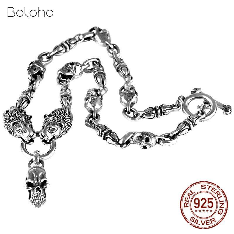 Handgemachte Lion Halskette silberne Farbe dicke Kette und Schädel Anhänger 100% Sterlingsilber 925 Farbe Kettenanhänger Schmuck