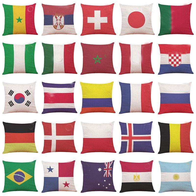 Yeni Ülke Bayrağı Yastık Kılıfı 32 Futbol Futbol Logo Kapak Atma Yastık Kapak Ev Araba Koltuk Dekor Kulübü hediyeleri HH7-958