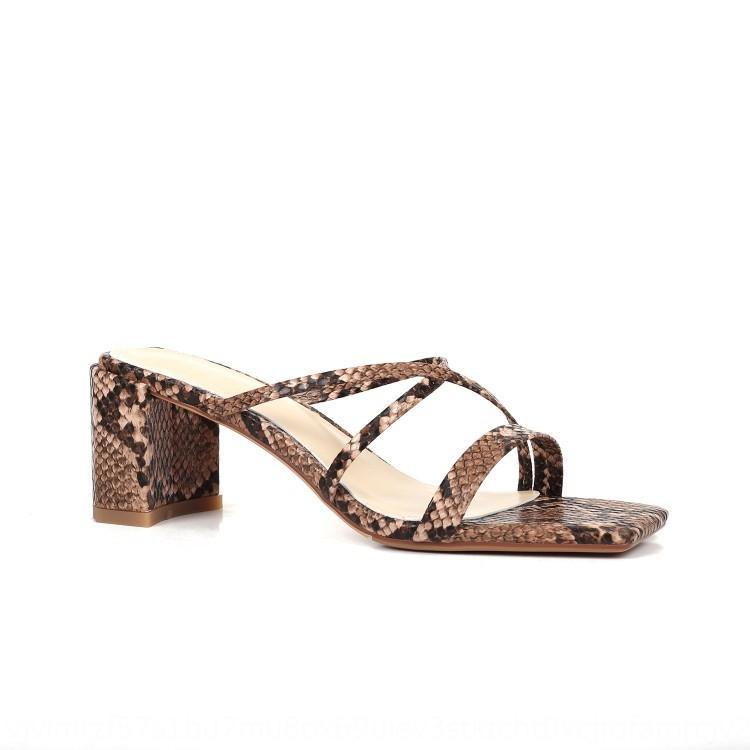 Desnudos de dos desgaste de las sandalias finas de la correa de las sandalias del estilo de hadas de las mujeres y zapatillas 2020 Nuevo gruesas zapatillas de tacón de la mujer desgaste externo mediados Moda talón I