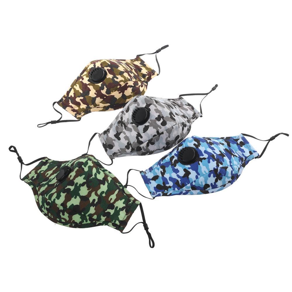 Gesicht Camouflage Waschbare Maske PM2.5 Ventilmaske Staubventil mit Mundmasken mit Feldern Baumwolle Wiederverwendbare Atemfarben für 6 PTRSP