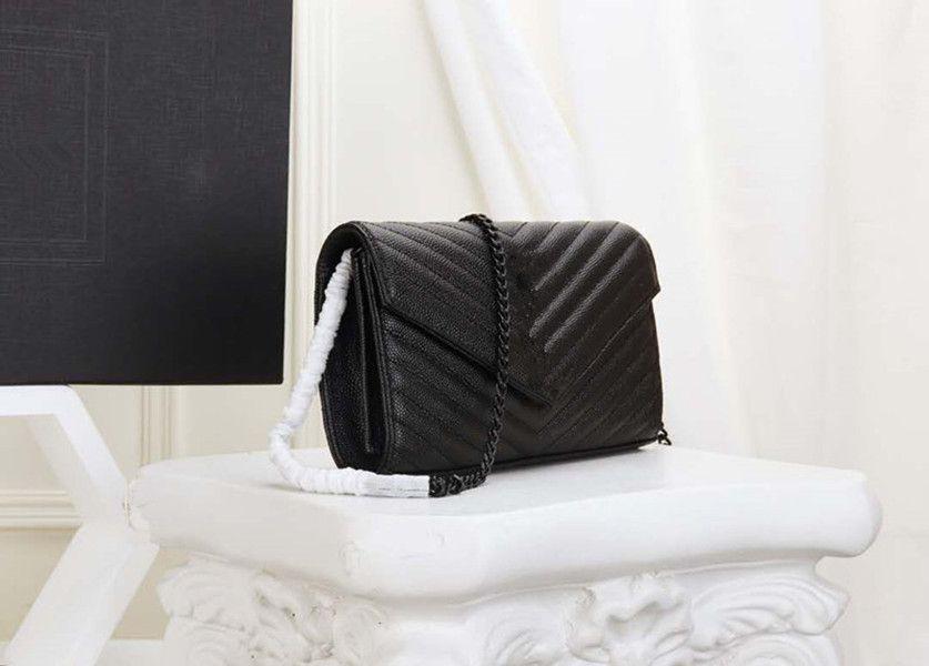 En çok satan tasarımcı çanta inek derisi deri havyar metal zincir altın gümüş tasarımcı çanta deri kapak diyagonal çapraz omuz ba