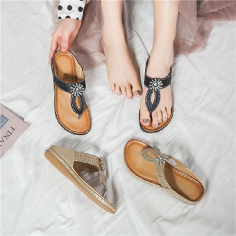 Женщины Покрытие сандалии Стразы цветок Hollow Boho Мода Flat Тапочки для Summer Beach -OPK